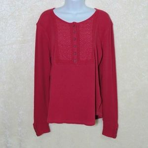Lucky Brand Embroidered Thermal Button Long Sleeve